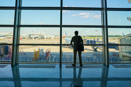 MOSCOW, RUSSIA - CIRCA AUGUST, 2018: view from terminal of Vnukovo International Airport. Редакционное