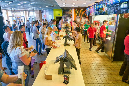 MOSCOW, RUSSIA - CIRCA AUGUST, 2018: counter service in McDonalds restaurant.