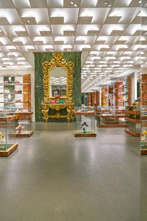 MILAN, ITALY - CIRCA NOVEMBER, 2017: interior of Dolce & Gabbana store in Milan. Dolce & Gabbana is an Italian luxury fashion house.