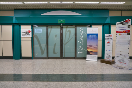 ROME, ITALY - CIRCA NOVEMBER, 2017: entrance to business class lounge in Fiumicino International Airport Leonardo da Vinci