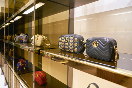 ROME, ITALY - CIRCA NOVEMBER, 2017: bags on display at a Gucci store in Fiumicino International Airport. Editorial