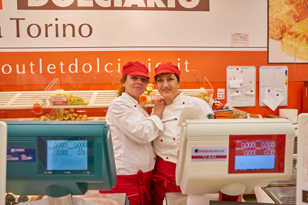 MILAN, ITALY - CIRCA NOVEMBER, 2017: staff in OD Store confectionery outlet in Milan. Redakční