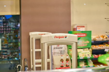MILAN, ITALY - CIRCA NOVEMBER, 2017: Checkpoint Systems RFID solution at Carrefour Express store in Milan.