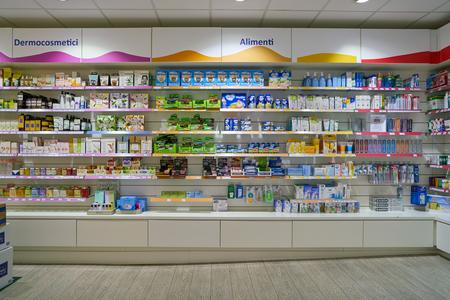 ROME, ITALY - CIRCA NOVEMBER, 2017: Angelini health and care store in Fiumicino International Airport Leonardo da Vinci