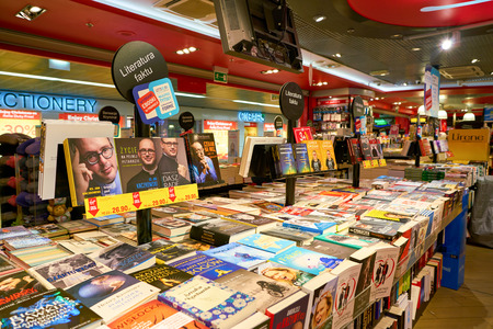 WARSAW, POLAND - CIRCA NOVEMBER, 2017: goods on display at Virgin shop in Warsaw Chopin Airport. Sajtókép