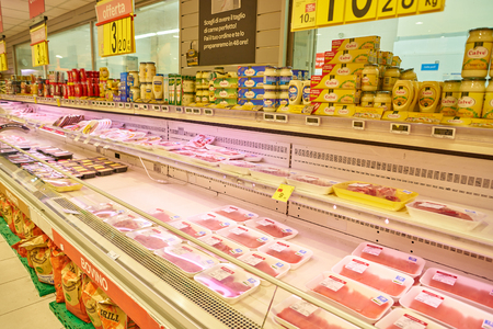 MILAN, ITALY - CIRCA NOVEMBER, 2017: meat products for Carrefour store in Milan. Editorial