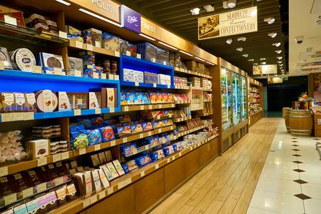 WARSAW, POLAND - CIRCA NOVEMBER, 2017: goods on display at Premium Food Gate in Warsaw Chopin Airport.