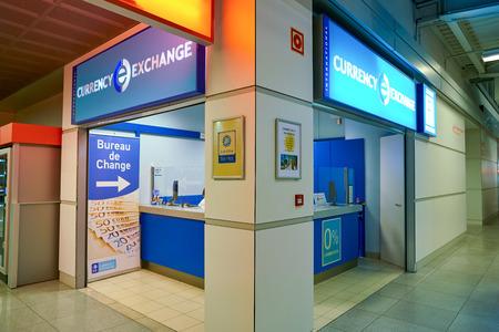 WARSAW, POLAND - CIRCA NOVEMBER, 2017: money exchange in Warsaw Chopin Airport.