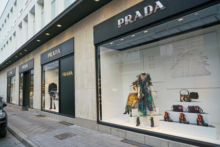 DUSSELDORF, GERMANY - CIRCA SEPTEMBER, 2018: a display window at Prada store in Dusseldorf.