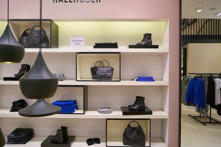 DUSSELDORF, GERMANY - CIRCA SEPTEMBER, 2018: goods on display at Hallhuber store in Dusseldorf. 報道画像