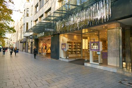 DUSSELDORF, GERMANY - CIRCA SEPTEMBER, 2018: entrance to a Swarovski store in Dusseldorf. Swarovski is an Austrian producer of lead glass.
