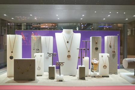 DUSSELDORF, GERMANY - CIRCA SEPTEMBER, 2018: display window at Swarovski store in Dusseldorf.