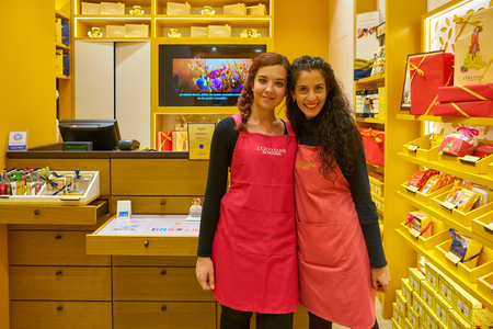 ROME, ITALY - CIRCA NOVEMBER, 2017: indoor portrait of sellers at L'Occitane shop in Rome. L'Occitane is an international retailer of body, face, fragrances and home products.