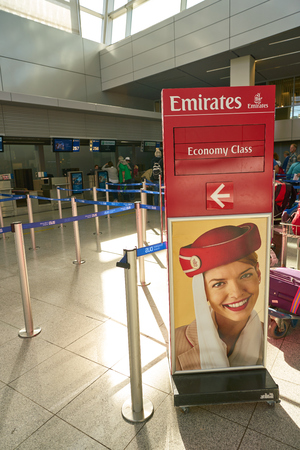 DUSSELDORF, GERMANY - CIRCA OCTOBER, 2018: Emirates check-in area in Dusseldorf airport. 報道画像