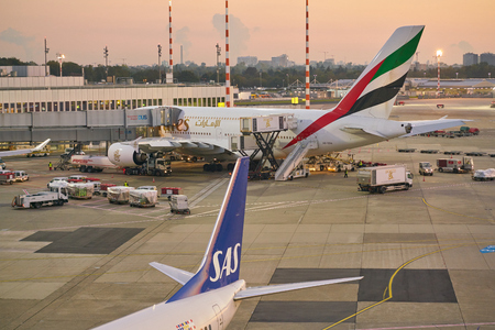 DUSSELDORF, GERMANY - CIRCA OCTOBER, 2018: Emirates aircraft on tarmac at Dusseldorf Airport. Editorial