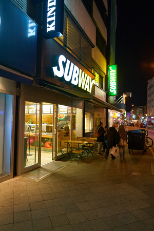 DUSSELDORF, GERMANY - CIRCA SEPTEMBER, 2018: entrance to Subway restaurant. Subway is an American fast food restaurant franchise that primarily sells submarine sandwiches and salads.
