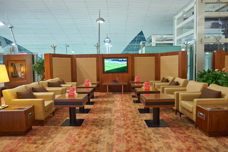 DUBAI, UAE - CIRCA SEPTEMBER, 2015: interior shot of Business Class Emirates Lounge in Dubai International Airport 報道画像