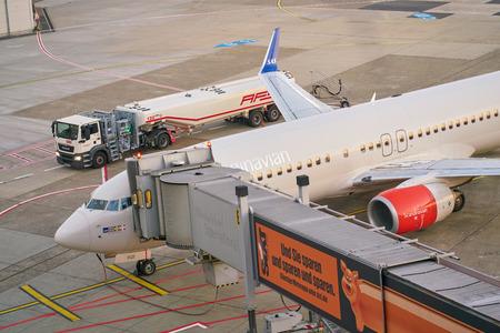 DUSSELDORF, GERMANY - CIRCA OCTOBER, 2018: aircraft on tarmac at Dusseldorf Airport.