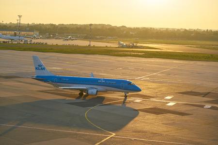 DUSSELDORF, GERMANY - CIRCA OCTOBER, 2018: KLM Cityhopper airplane taxi at Dusseldorf Airport.