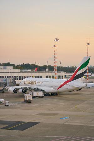 DUSSELDORF, GERMANY - CIRCA OCTOBER, 2018: Emirates aircraft on tarmac at Dusseldorf Airport. 報道画像