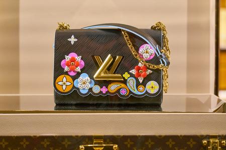 ROME, ITALY - CIRCA NOVEMBER, 2017: close up shot of a bag on display at Louis Vuitton shop.