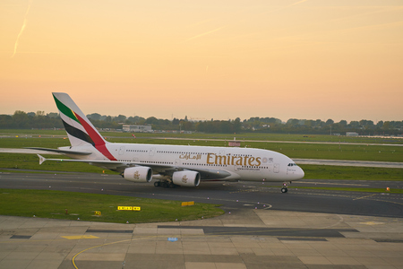 DUSSELDORF, GERMANY - CIRCA OCTOBER, 2018: Emirates Airbus A380-800 taxi at Dusseldorf Airport. 報道画像