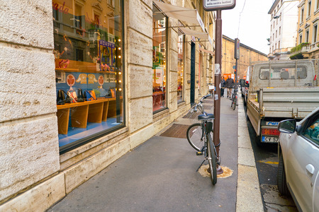 MILAN, ITALY - CIRCA NOVEMBER, 2017: Prada shop in Milan. Prada is an Italian luxury fashion house.