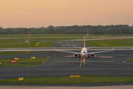 DUSSELDORF, GERMANY - CIRCA OCTOBER, 2018: airplane taxi at Dusseldorf Airport.