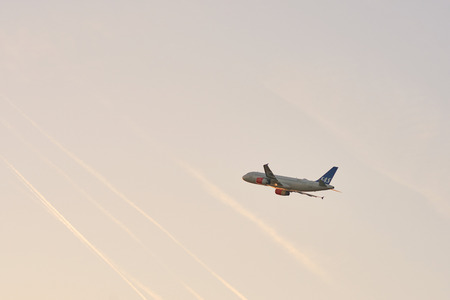 DUSSELDORF, GERMANY - CIRCA OCTOBER, 2018: airplane taking off from Dusseldorf Airport Editorial