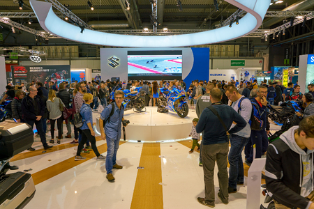 MILAN, ITALY - NOVEMBER 11, 2017: people at EICMA 2017 - 75th International Motorcycle Exhibition Editorial