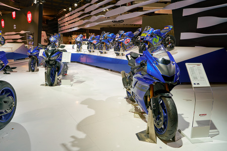 MILAN, ITALY - NOVEMBER 11, 2017: Yamaha motorcycles on display at EICMA 2017 - 75th International Motorcycle Exhibition