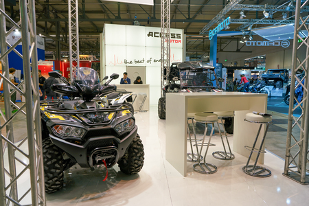 MILAN, ITALY - NOVEMBER 11, 2017: four wheel motorbike on display at the EICMA 2017 - 75th International Motorcycle Exhibition