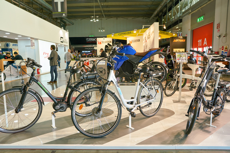 MILAN, ITALY - NOVEMBER 11, 2017: bikes on display during the EICMA 2017 - 75th International Motorcycle Exhibition.