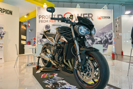 MILAN, ITALY - NOVEMBER 11, 2017: Triumph motorcycle is displayed at EICMA 2017 - 75th International Motorcycle Exhibition Editorial