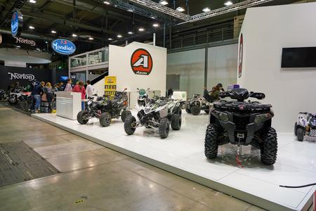MILAN, ITALY - NOVEMBER 11, 2017: four wheel motorbikes on display at the EICMA 2017 - 75th International Motorcycle Exhibition