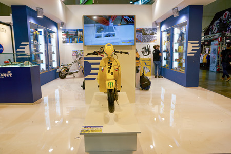 MILAN, ITALY - NOVEMBER 11, 2017: scooter on display at EICMA 2017 - 75th International Motorcycle Exhibition.
