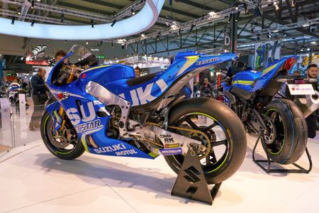 MILAN, ITALY - NOVEMBER 11, 2017: motorcycles on display at EICMA 2017 - 75th International Motorcycle Exhibition Editorial