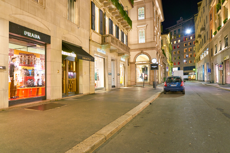 MILAN, ITALY - CIRCA NOVEMBER, 2017: luxury stores in Milan. Milan is a city in northern Italy. Stock Photo - 119940064