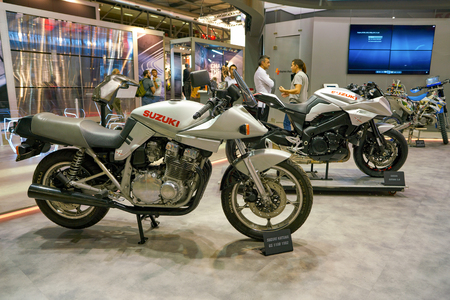 MILAN, ITALY - NOVEMBER 11, 2017: Suzuki motorcycles on display at EICMA 2017 - 75th International Motorcycle Exhibition 報道画像