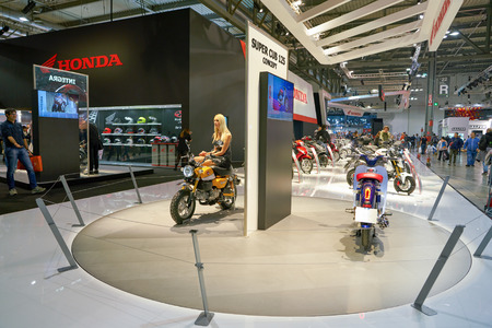 MILAN, ITALY - NOVEMBER 11, 2017: motorcycles on display during the EICMA 2017 - 75th International Motorcycle Exhibition. Editorial