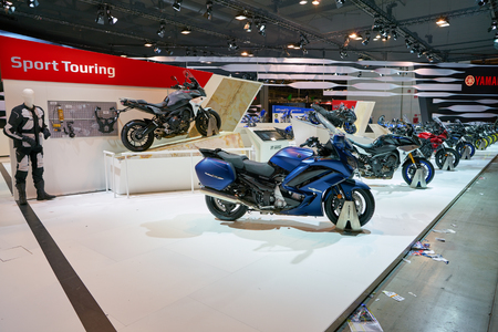 MILAN, ITALY - NOVEMBER 11, 2017: Yamaha motorcycles on display at EICMA 2017 - 75th International Motorcycle Exhibition