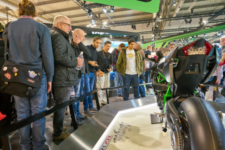MILAN, ITALY - NOVEMBER 11, 2017: Kawasaki Ninja H2R motorcycle is displayed at EICMA 2017 - 75th International Motorcycle Exhibition Editorial