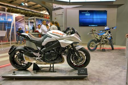MILAN, ITALY - NOVEMBER 11, 2017: Suzuki motorcycles on display at EICMA 2017 - 75th International Motorcycle Exhibition Editorial