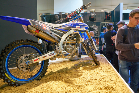 MILAN, ITALY - NOVEMBER 11, 2017: a motorcycle is displayed at EICMA 2017 - 75th International Motorcycle Exhibition