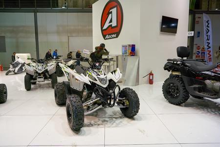 MILAN, ITALY - NOVEMBER 11, 2017: four wheel motorbikes on display at the EICMA 2017 - 75th International Motorcycle Exhibition Redakční