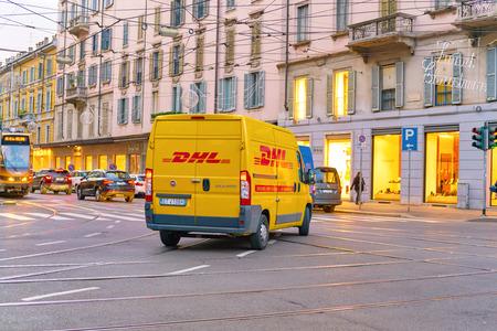 MILAN, ITALY - CIRCA NOVEMBER, 2017: DHL Delivery Car in Milan.