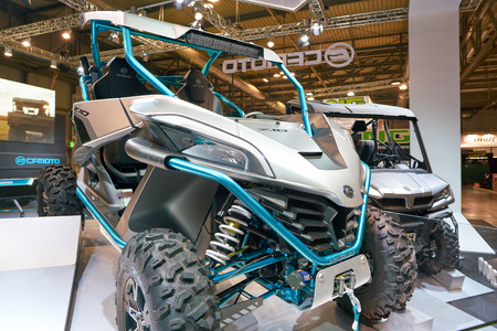 MILAN, ITALY - NOVEMBER 11, 2017: four wheel motorbike on display at the EICMA 2017 - 75th International Motorcycle Exhibition Redakční