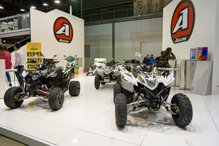 MILAN, ITALY - NOVEMBER 11, 2017: four wheel motorbikes on display at the EICMA 2017 - 75th International Motorcycle Exhibition