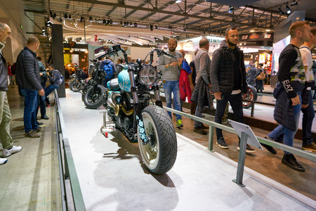 MILAN, ITALY - NOVEMBER 11, 2017: Harley-Davidson motorcycle is displayed at EICMA 2017 - 75th International Motorcycle Exhibition Editorial