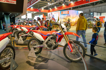 MILAN, ITALY - NOVEMBER 11, 2017: Honda motorcycles on display at EICMA 2017 - 75th International Motorcycle Exhibition